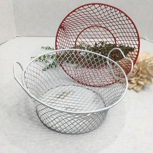 2 Soft Wire Baskets, Red & White, Heart Handles